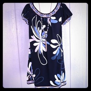 BCBG MAXAZRIA Navy Floral Tunic Dress—